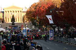 The crowd cheers on runners at the start line of the 2016 Philadelphia Marathon, on Nov. 20, 2016, on the Benjamin Franklin Parkway, in Center City, Philadelphia, PA. <br /> <br /> With the city of Philadelphia taking over organization the course, as well as start and finish locations are slightly different from past years. The winners for 2016 are, in the Mens race, Kimutai Cheruiyot in 2:15:53, and Taylor Ward in the Womens race in 2:36:25