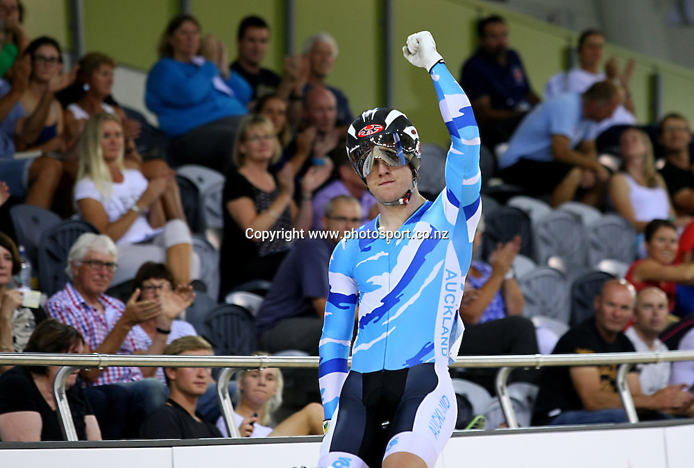 Auckland's Sam Webster finishes first in the ME Sprint at the BikeNZ Elite & U19 Track National Championships, Avantidrome, Home of Cycling, Cambridge, New Zealand, Friday, March 14, 2014.  Photo: Dianne Manson / photosport.co.nz