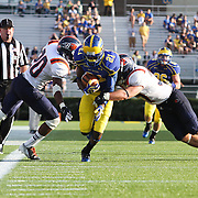 Delaware Wide Receiver Stephan Clark (21) catches a 20 yard pass from Delaware Quarterback Trent Hurley (12) during a Week 3 NCAA football game against Bucknell University...#13 Delaware defeated The Bison of Bucknell 19 - 3 at Delaware Stadium Saturday Sept. 15, 2012 in Newark Delaware.