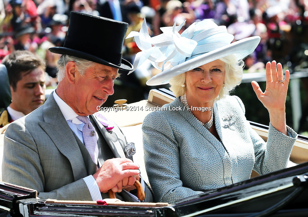 Image licensed to i-Images Picture Agency. 17/06/2014.    Prince of Wales and Duchess of Cornwall  arriving  on  the opening day of Royal Ascot, United Kingdom. Picture by Stephen Lock / i-Images