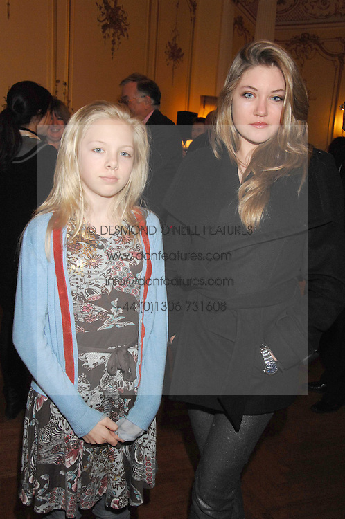 Left to right, sisters LILY GUINNESS and CELESTRE GUINNESS at a party to celebrate the publication of 'Arthur's Road' a biography of Arthur Guinness written by Patrick Guinness held at the Irish Embassy, London on 6th March 2008.<br />