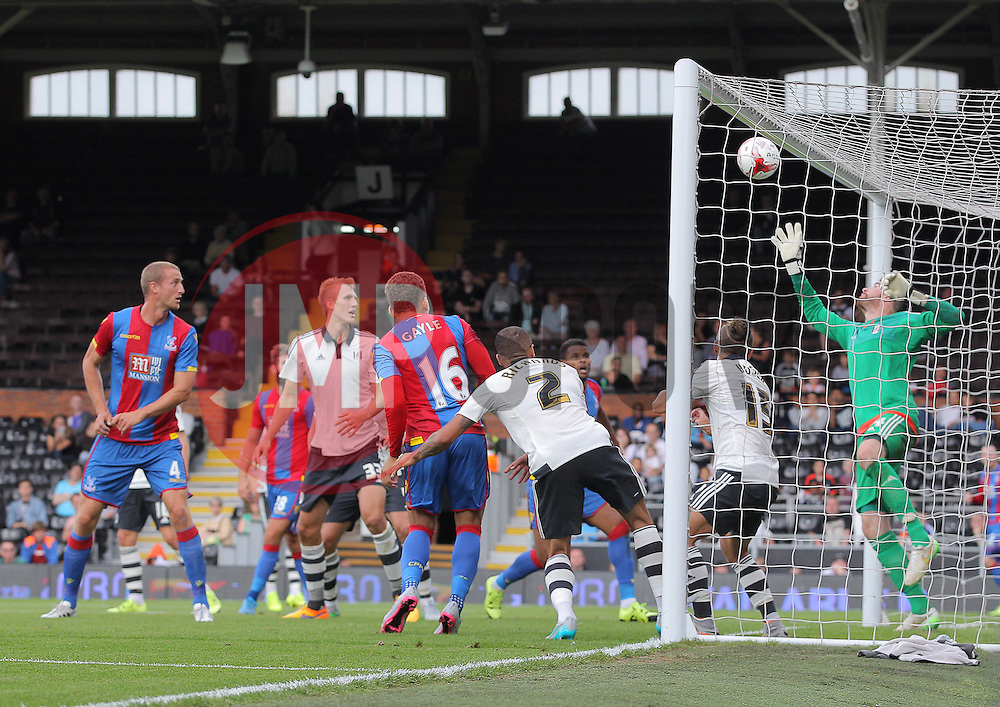 Dwight Gayle of Crystal Palace watches on as his shot hits the cross bar - Mandatory by-line: Paul Terry/JMP - 07966386802 - 01/08/2015 - SPORT - FOOTBALL - Fulham,England - Craven Cottage - Fulham v Crystal Palace - Pre-Season Friendly