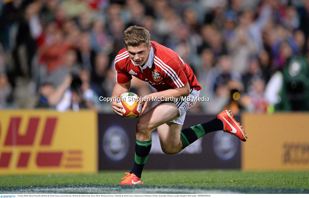5 June 2013; Owen Farrell, British & Irish Lions, scores his try. British & Irish Lions Tour 2013, Western Force v British & Irish Lions, Patterson's Stadium, Perth, Australia. Picture credit: Stephen McCarthy / SPORTSFILE
