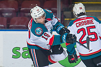 KELOWNA, CANADA - JANUARY 25: Ethan Ernst #19 of the Kelowna Rockets warms up with a shot on net against the Victoria Royals on January 25, 2019 at Prospera Place in Kelowna, British Columbia, Canada.  (Photo by Marissa Baecker/Shoot the Breeze)