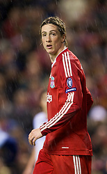 LIVERPOOL, ENGLAND - Wednesday, December 9, 2009: Liverpool's Fernando Torres in action against AFC Fiorentina during the UEFA Champions League Group E match at Anfield. (Photo by David Rawcliffe/Propaganda)