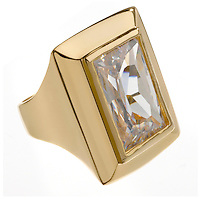 large rectangle diamond on a gold ring setting