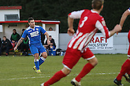 Danny Crow of Lowestoft Town (left) scores his team's first goal against Brackley Town to make it 2-1 during the Conference North match at St. James Park, Brackley<br /> Picture by David Horn/Focus Images Ltd +44 7545 970036<br /> 24/01/2015