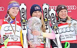 13.03.2010, Goudyberg Herren, Garmisch Partenkirchen, GER, FIS Worldcup Alpin Ski, Garmisch, Men Slalom, im Bild Podium des Gesamtweltcup 2009 2010 Damen v.l. zeitplazierte Riesch Maria ( GER ), erstplazierte  Lindsey Vonn ( USA ), drittplazierte Paerson Anja ( SWE ), EXPA Pictures © 2010, PhotoCredit: EXPA/ J. Groder / SPORTIDA PHOTO AGENCY