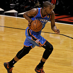Jun 21, 2012; Miami, FL, USA; Oklahoma City Thunder small forward Kevin Durant (35) against the Miami Heat during the third quarter in game five in the 2012 NBA Finals at the American Airlines Arena. Mandatory Credit: Derick E. Hingle-US PRESSWIRE
