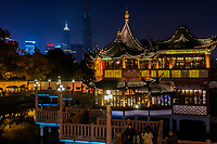 Shanghai, China - April 7, 2013: ancient tea house Fang Bang Zhong Lu old city at night in the city of Shanghai in China on april 7th, 2013