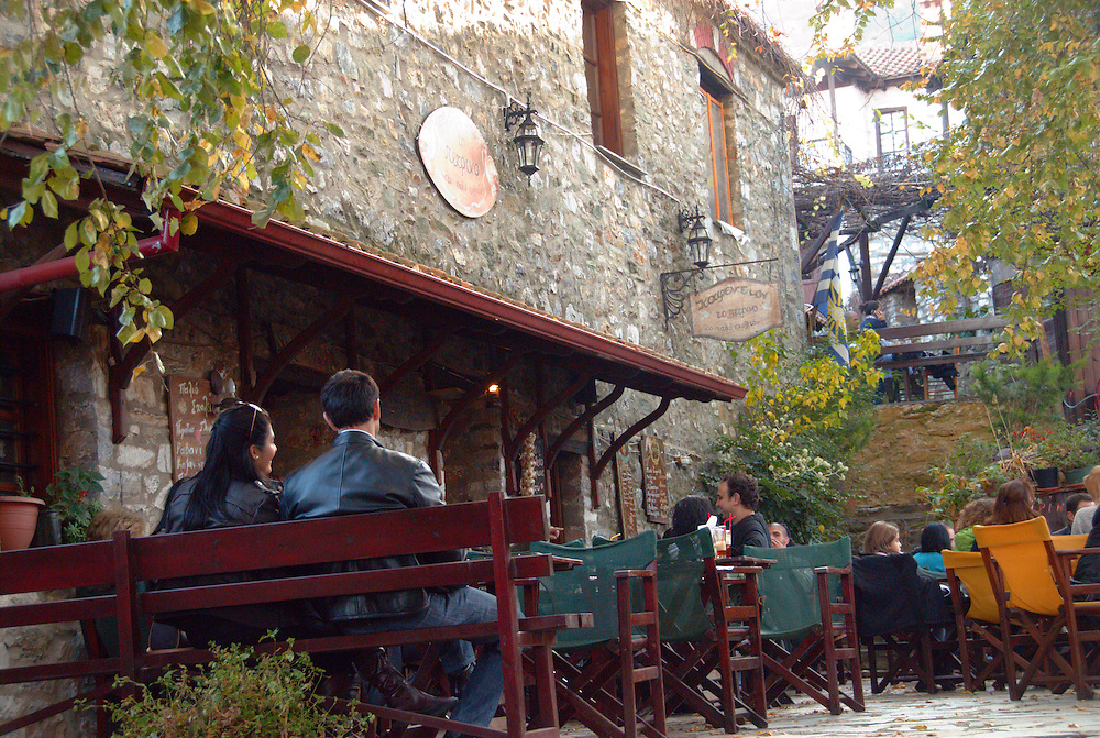 The taverns and restaurants around the square of the traditional village Palios Panteleimonas on mount Olympus.  Pieria prefecture, central Macedonia region, northern Greece.