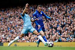 Gael Clichy of Manchester City challenges Jamie Vardy of Leicester City - Mandatory by-line: Matt McNulty/JMP - 13/05/2017 - FOOTBALL - Etihad Stadium - Manchester, England - Manchester City v Leicester City - Premier League