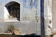 Roma  August  25 2008.Il casolare di campagna dove sono stati aggrediti i due turisti olandesi da due pastori romeni. Il nome di uno degli aggressori lasciato su un muro del casale.The farmhouse where the two Dutch tourists have been attacked by two shepherds romanian. The signature of one of the aggressors on a wall of the farm