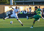 Tampa Bay Rowdies midfielder Leo Fernandes(11) kicks the ball while Swope Park Rangers defender Mark Segbers(43) looks to intercept the pass during a USL soccer game, Sunday, May 26, 2019, in St. Petersburg, Fla. The Rowdies defeated the Rangers 1-0. (Brian Villanueva/Image of Sport)