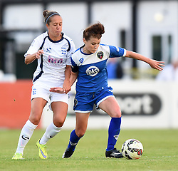 Angharad James of Bristol Academy Women battles with Josanne Potter of Birmingham City Ladies - Mandatory by-line: Paul Knight/JMP - Mobile: 07966 386802 - 29/08/2015 -  FOOTBALL - Stoke Gifford Stadium - Bristol, England -  Bristol Academy Women v Birmingham City Ladies FC - FA WSL Continental Tyres Cup