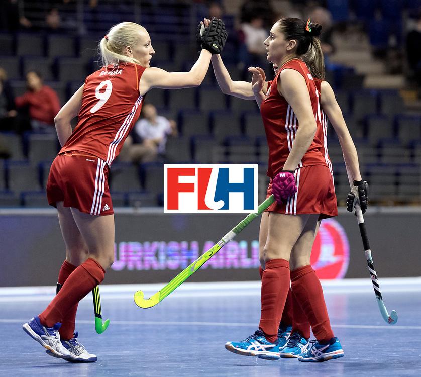 BERLIN - Indoor Hockey World Cup<br /> Women: Kazakhstan - Belarus<br /> foto: Belarus celebrate.<br /> WORLDSPORTPICS COPYRIGHT FRANK UIJLENBROEK