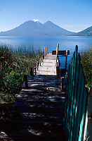 View of volcanoes and Lake Atitlan, Guatemala