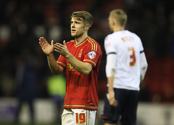 Jamie Ward of Nottingham Forest applauds the fans at the final whistle - Mandatory byline: Jack Phillips/JMP - 16/01/2016 - FOOTBALL - The City Ground - Nottingham, England - Nottingham Forest v Bolton Wonderers - {event}