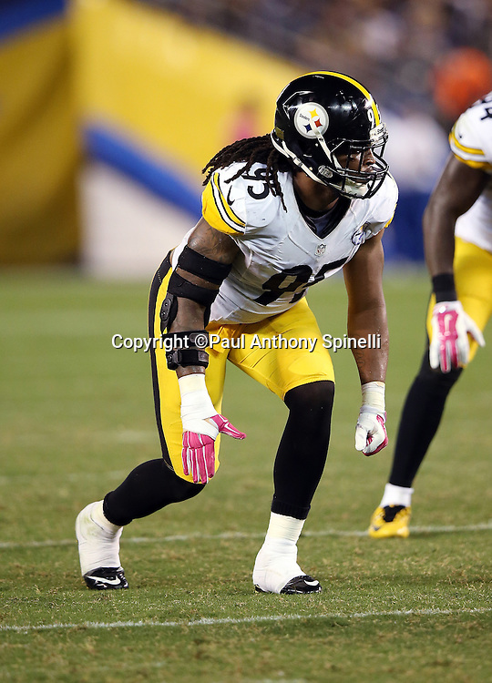Pittsburgh Steelers outside linebacker Jarvis Jones (95) gets set for the snap during the 2015 NFL week 5 regular season football game against the San Diego Chargers on Monday, Oct. 12, 2015 in San Diego. The Steelers won the game 24-20. (©Paul Anthony Spinelli)