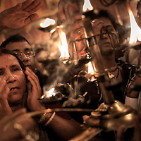 Hindu devotees at Kolkata's annual Durga Puja...Photo: Tom Pietrasik.Kolkata, India.October 2008