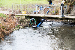 © Licensed to London News Pictures. 02/01/2019. Basildon, UK. Essex Police along with the Environment Agency begin an operation to drain the fishing lake in Gloucester Park. Police are investigating the disappearance of 28 year old Basildon man Jack Morrad. He was last seen in the park around 2.30am on 23rd December.  Photo credit : Simon Ford/LNP.