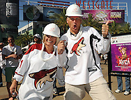 May 13, 2012; Glendale, AZ, USA; Phoenix Coyotes fans pose for a photo prior to the first period of game one of the Western Conference finals of the 2012 Stanley Cup Playoffs at Jobing.com Arena.  Mandatory Credit: Jennifer Stewart-US PRESSWIRE.
