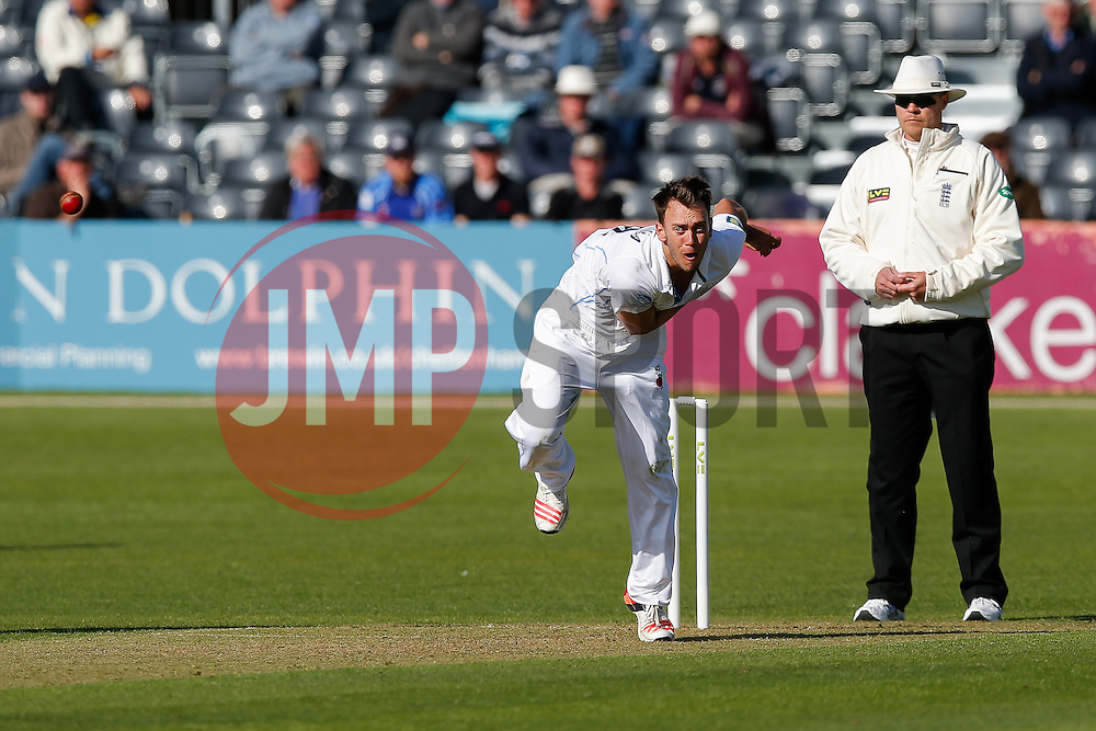 Alex Hughes of Derbyshire bowls out James Hughes of Gloucestershire by L.B.W for 6 - Photo mandatory by-line: Rogan Thomson/JMP - 07966 386802 - 26/04/2015 - SPORT - CRICKET - Bristol, England - Bristol County Ground - Gloucestershire v Derbyshire — Day 1 - LV= County Championship Division Two.