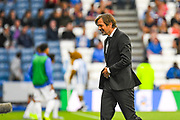 Phillip Cocu of Derby County (Manager) reacts to Tom Lawrence of Derby County (10) second goal to make the score 0-2 during the EFL Sky Bet Championship match between Huddersfield Town and Derby County at the John Smiths Stadium, Huddersfield, England on 5 August 2019.