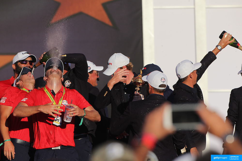 Ryder Cup 2016. Day Three. The United States team celebrate their win after presentations at the Ryder Cup tournament at Hazeltine National Golf Club on October 02, 2016 in Chaska, Minnesota.  (Photo by Tim Clayton/Corbis via Getty Images)