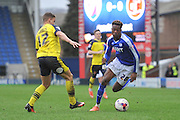 Gboly Ariyibi (28) of Chesterfield FC gets away fromTyler Hornby-Forbes (12) of Fleetwood Town  during the Sky Bet League 1 match between Chesterfield and Fleetwood Town at the b2net stadium, Chesterfield, England on 26 March 2016. Photo by Ian Lyall.