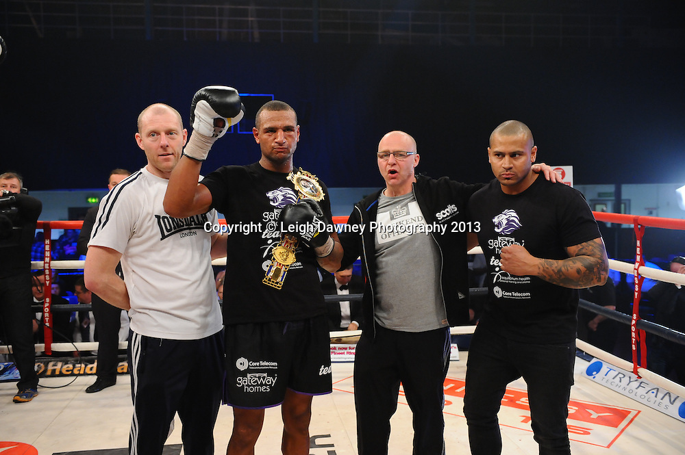 Bob Ajisafe (pictured with team) defeats Dean Francis for the Vacant British Light Heavyweight Title on 15th March 2014 at the Rivermead Leisure Centre, Reading, Berkshire. Promoted by Hennessy Sports. © Leigh Dawney Photography 2014.