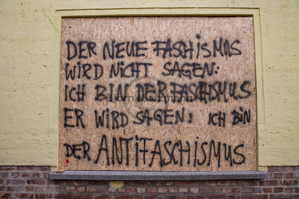 Wurzen, Germany - 02.09.2017<br /> <br /> Because of an antifascist demonstration in the small Saxon town of Wurzen, some shop windows were barricaded and spayed with right wing slogans.<br /> <br /> Wegen einer antifaschistischen Demonstration in der saechsischen Kleinstadt Wurzen wurden vereinzelt Schaufenster verbarrikadiert und mit rechten Parolen besprueht. <br /> <br /> Photo: Bjoern Kietzmann