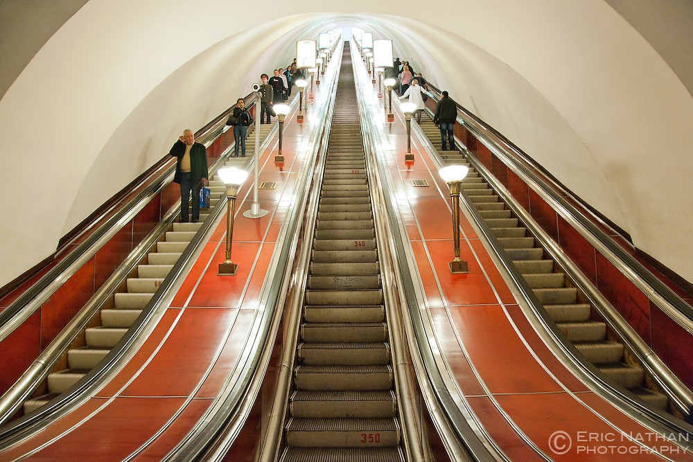 Escalators of the St Petersburg metro system in Saint Petersburg, Russia. It is one of the deepest metro systems in the world.