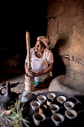Asna Kech roasts and brews coffee for her family for a traditional coffee ceremony in the village of Choche in Ethiopia.  The region is home to the largest pool of genetic diversity in the world for coffee. One of the greatest ironies is that most coffee producing countries do not consume their own coffee, and until very recently the very notion of high-quality coffee has been limited to consuming countries in the developed world. Ethiopia is the stunning exception: it boasts the most ancient and the most compelling traditions for coffee consumption that the world has ever seen. Coffee permeates the cultural fabric of Ethiopian life.