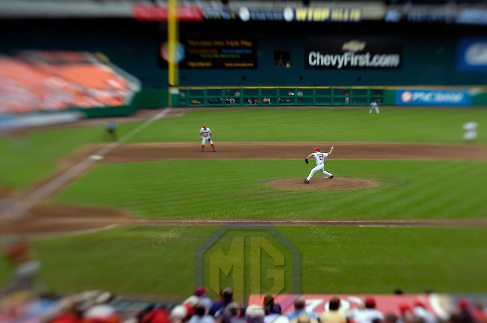 18 July 2007:  Washington Nationals pitcher Jason Bergmann (57) pitches in the 6th inning against the Houston Astros.  Bergmann went 6 inning to pick up his second win of the year as the Nationals defeated the Astros 7-6 at RFK Stadium in Washington, D.C.  ****For Editorial Use Only****