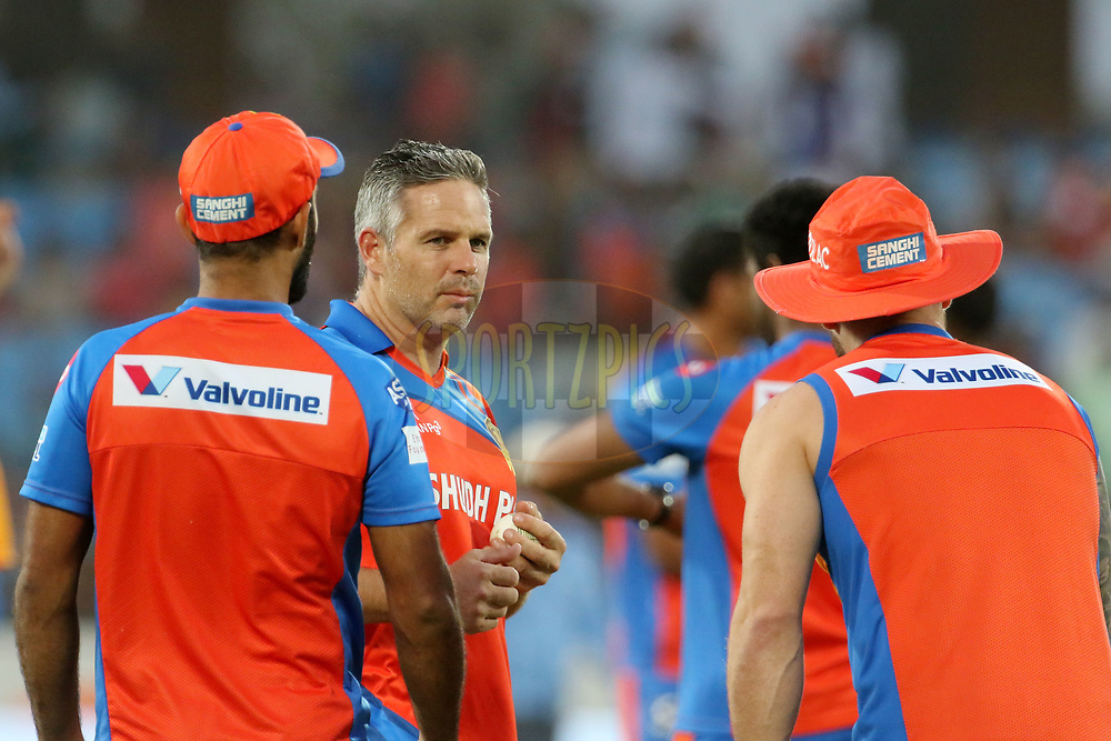Gujarat Lions coach Brad Hodge before the start of the match 35 of the Vivo 2017 Indian Premier League between the Gujarat Lions and the Mumbai Indians  held at the Saurashtra Cricket Association Stadium in Rajkot, India on the 29th April 2017<br /> <br /> Photo by Vipin Pawar - Sportzpics - IPL