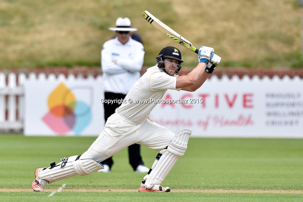 Michael Pollard of the Firebirds bats during the Plunket Shield cricket match -between the Wellington Firebirds and Otago Volts on Thursday 17 December 2015 at the Basin Reserve, Wellington. Copyright Photo: Marty Melville  / www.photosport.nz