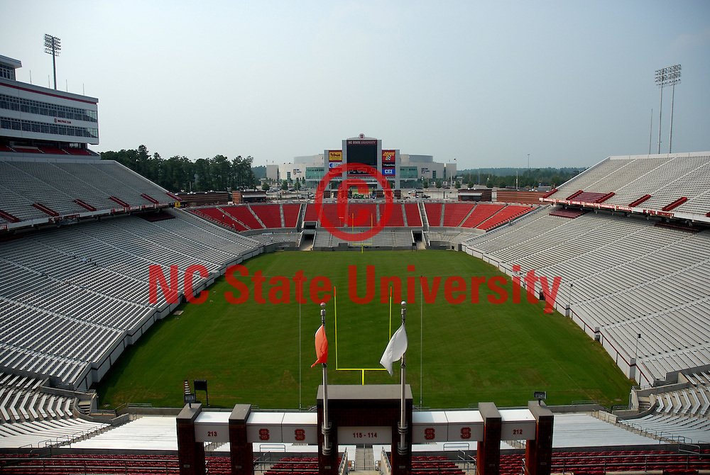 Nearly completed new endzone seating in Carter-Finley Stadium.       PHOTO BY ROGER WINSTEAD