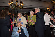 V.S.NAIPAUL; VISCOUNT NORWICH; MARY PHILLIPPS, GOEFFREY WHEATCROFT, David Campbell Publisher of Everyman's Library and Champagen Bollinger celebrate the completion of the Everyman Wodehouse in 99 volumes and the 2015 Bollinger Everyman Wodehouse prize shortlist. The Archive Room, The Goring Hotel. London. 20 April 2015.