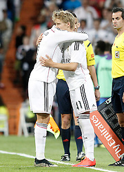 23.05.2015, Estadio Santiago Bernabeu, Madrid, ESP, Primera Division, Real Madrid vs FC Getafe, 38. Runde, im Bild Real Madrid's Odegaard (r) and Cristiano Ronaldo // during the Spanish Primera Division 38th round match between Real Madrid CF and Getafe FCat the Estadio Santiago Bernabeu in Madrid, Spain on 2015/05/23. EXPA Pictures &copy; 2015, PhotoCredit: EXPA/ Alterphotos/ Acero<br /> <br /> *****ATTENTION - OUT of ESP, SUI*****
