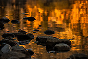Fall colors of the surrounding Foliage reflected in the calm water of Jenny Lake in Grand Teton National Park
