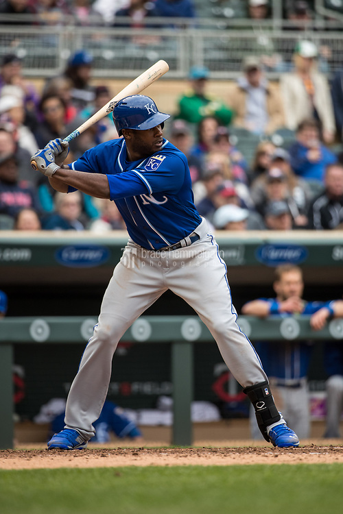 MINNEAPOLIS, MN- APRIL 5: Lorenzo Cain #6 of the Kansas City Royals bats against the Minnesota Twins on April 5, 2017 at Target Field in Minneapolis, Minnesota. The Twins defeated the Royals 9-1. (Photo by Brace Hemmelgarn) *** Local Caption *** Lorenzo Cain