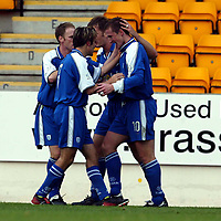 St Johnstone v St Mirren..  19.10.02<br />Chris Hay celebrates his goal<br /><br />Pic by Graeme Hart<br />Copyright Perthshire Picture Agency<br />Tel: 01738 623350 / 07990 594431