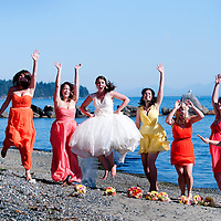 Amy and her bridesmaids at her portrait session on the Salish Sea in Sooke, British Columbia.
