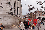 Turkey, Istanbul, Eminonu. Pigeons take flight, and people take cover, outside the Yeni Cami Mosque (New Mosque).