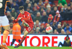 LIVERPOOL, ENGLAND - Wednesday, January 20, 2016: Liverpool's Joao Carlos Teixeira in action against Exeter City during the FA Cup 3rd Round Replay match at Anfield. (Pic by David Rawcliffe/Propaganda)