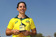 Nicole Bolton of Australia receives the player of the match during the presentation ceremony of first women's one day International ( ODI ) match between India and Australia held at the Reliance Cricket Stadium in Vadodara, India on the 12th March 2018<br /> <br /> Photo by Vipin Pawar / BCCI / SPORTZPICS