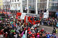 Ludwigshafen. 11.02.18 | <br /> 66. Traditioneller Fasnachtsumzug Mannheim-Ludwigshafen. Diesmal in Ludwigshafen.<br /> - Berufsfeuerwehr Ludwigshafen. 100 Jahre BF LU mit Handl&ouml;schkarre, Drehleiter, Firepocket, Fu&szlig;gruppe<br /> Bild: Markus Prosswitz 11FEB18 / masterpress (Bild ist honorarpflichtig - No Model Release!) <br /> BILD- ID 04365 |