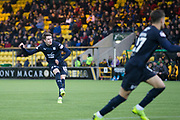 16th February 2019, Tony Macaroni Arena, Livingston, Scotland; Ladbrokes Premiership football, Livingston versus Dundee; Scott Wright of Dundee scores for 2-1 in the 86th minute