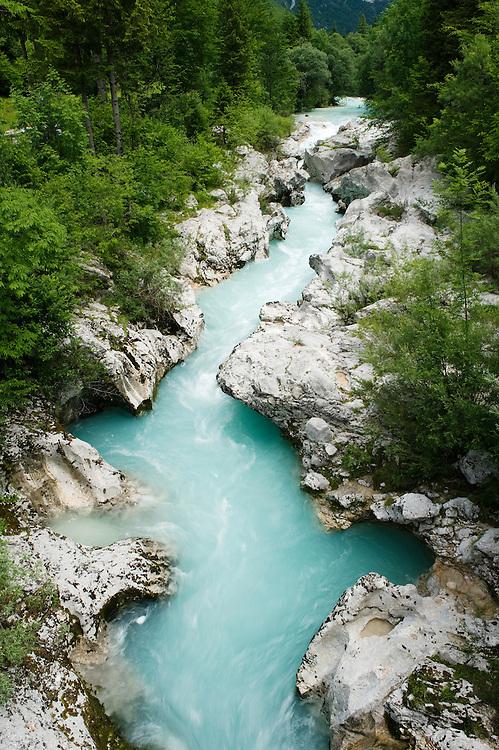 River Soca at &quot;Mala korita&quot; (&quot;Little Canyon&quot;), cascades, stones<br /> Triglav National Park, Slovenia<br /> June 2009